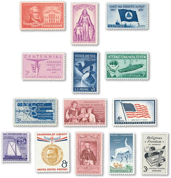 1957 Commemorative Stamp Year Set