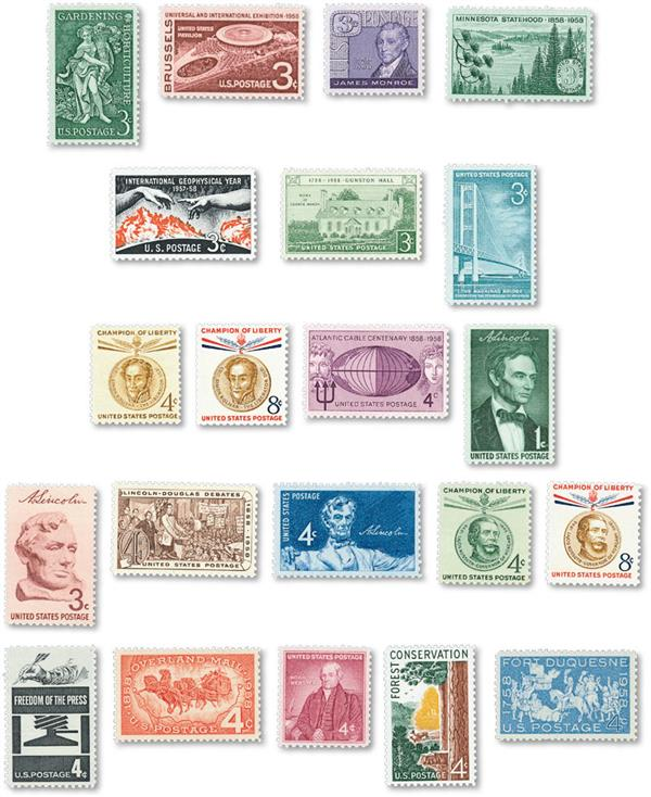 1958 Commemorative Stamp Year Set, 21 stamps
