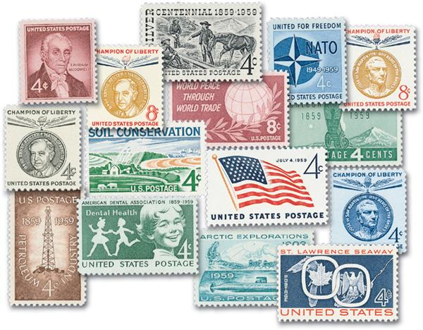 1959 Complete Commemorative Year Set, 15 stamps