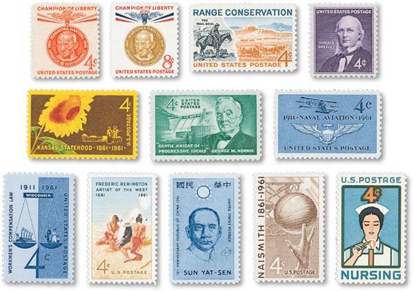 1961 Commemorative Stamp Year Set