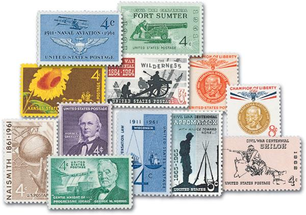 1961 Complete Commemorative Year Set, 17 stamps
