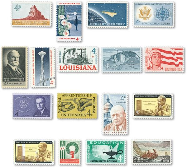 1962 Complete Commemorative Year Set, 17 stamps