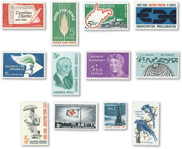 1963 Complete Commemorative Year Set, 12 stamps