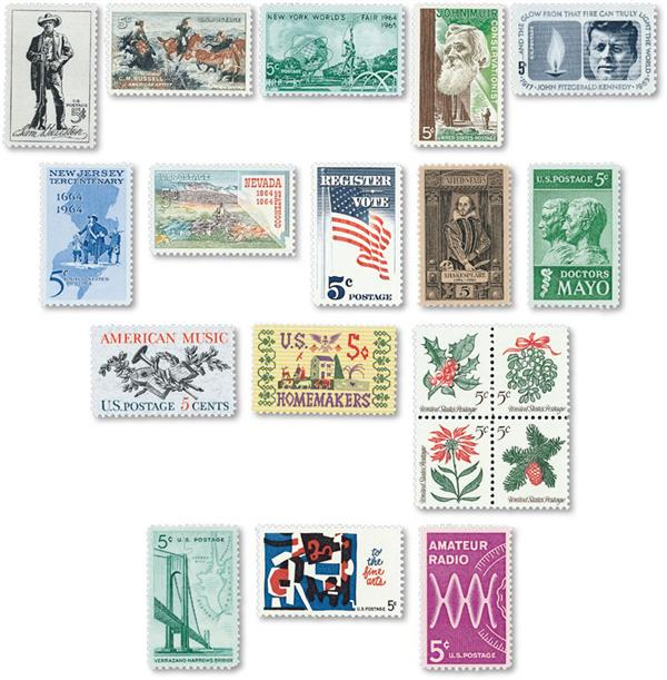 1964 Complete Commemorative Year Set, 19 stamps