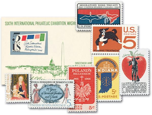 1966 Complete Commemorative Year Set, 17 stamps