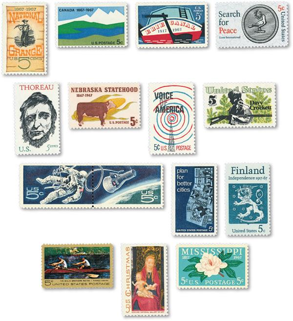 1967 Complete Commemorative Year Set, 15 stamps