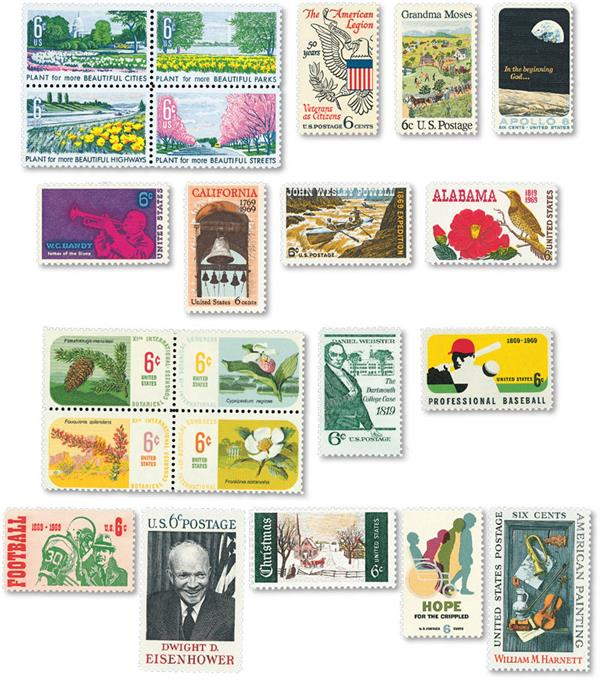 1969 Complete Commemorative Year Set, 22 stamps