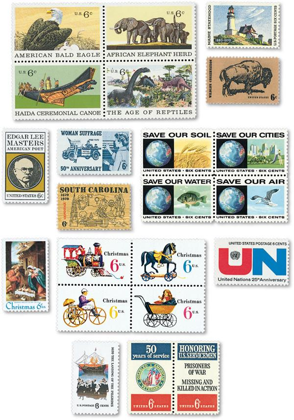1970 Complete Commemorative Year Set, 24 stamps
