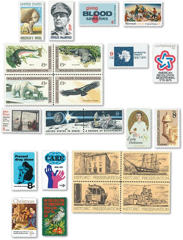 1971 Complete Commemorative Year Set, 23 stamps