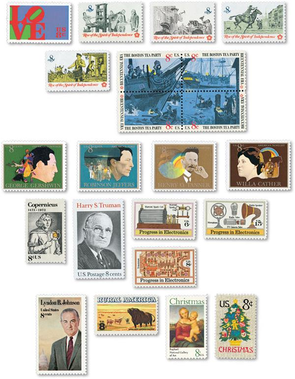 1973 Commemorative Stamp Year Set