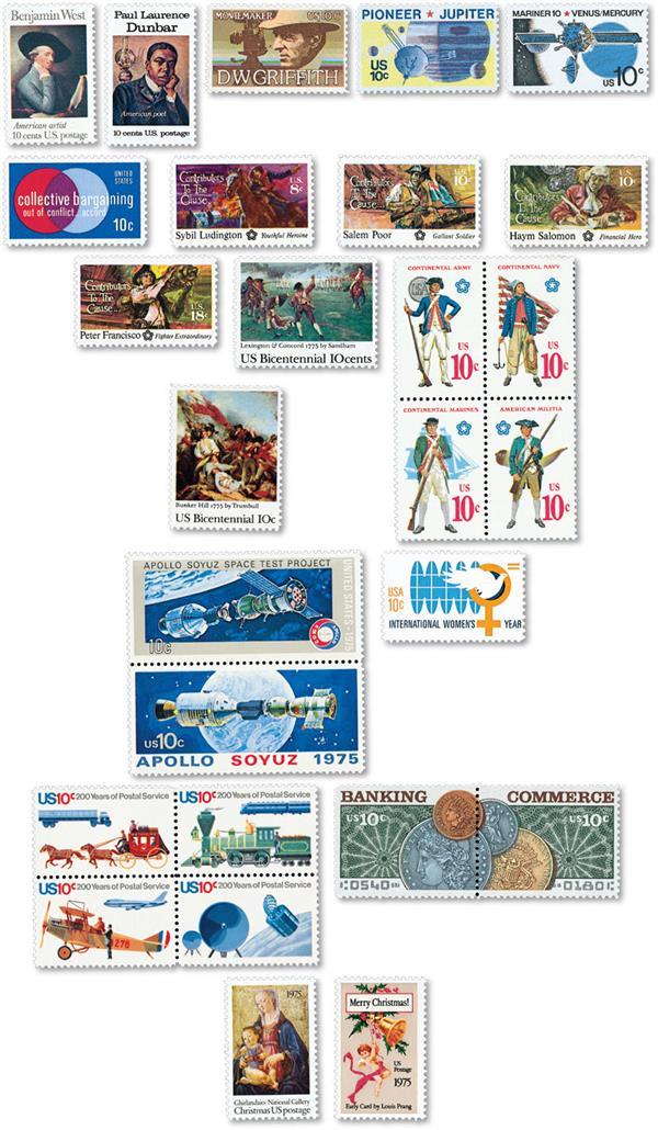 1975 Commemorative Stamp Year Set