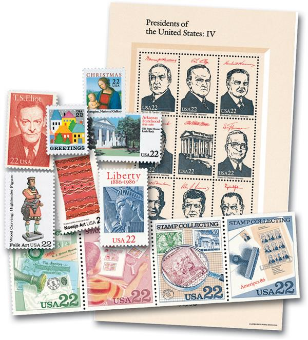1986 Complete Commemorative Year Set, 67 stamps