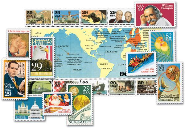 1991 Complete Commemorative Year Set, 56 stamps