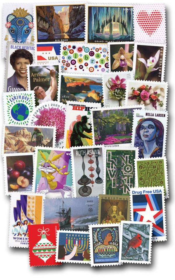 2020 Complete Year Set of U.S. Commemoratives and Definitives, Set of 115 Stamps