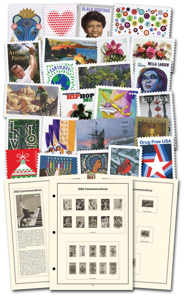 2020 Complete Commemorative Year Set (77 stamps), plus Heritage Supplement and black, split-back mounts