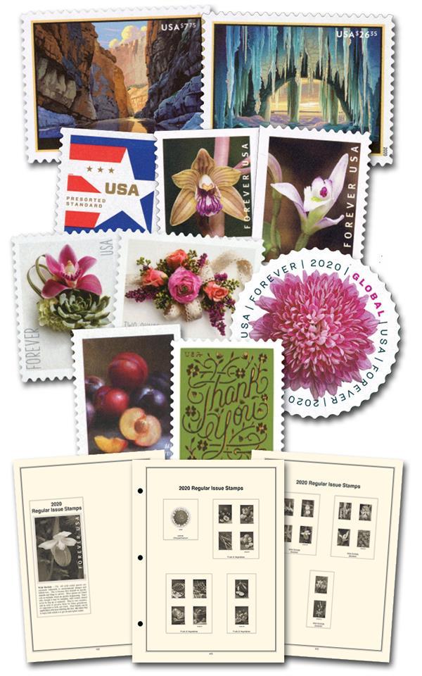2020 Regular Issue Year Set (38 stamps), plus Definitive Supplement and black, split-back mounts