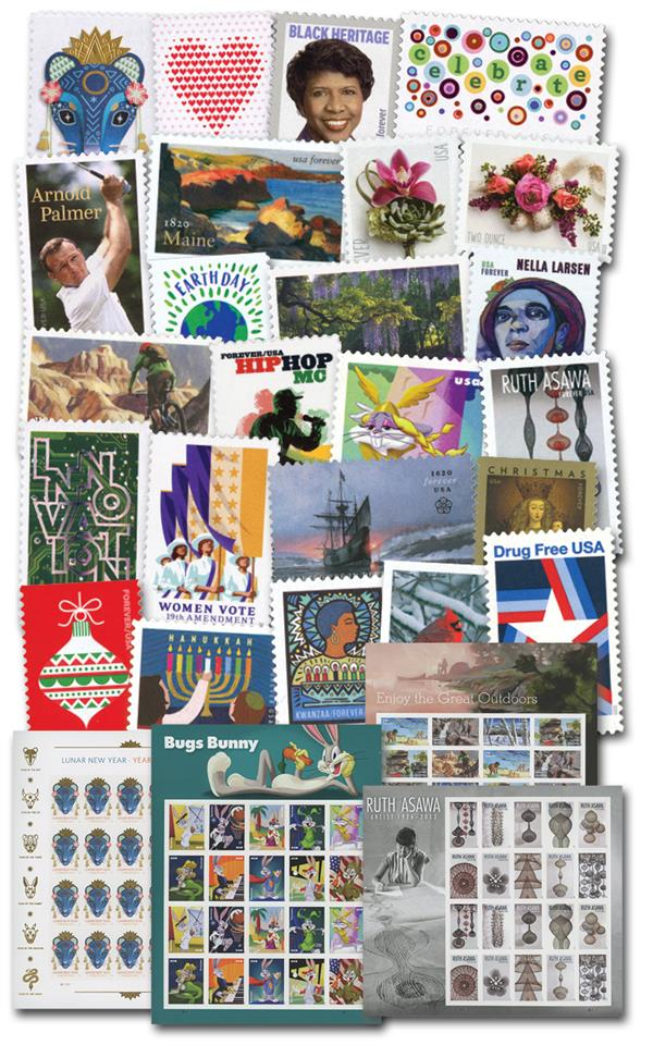 2020 Giant US Commemorative Collection, 157 Mint Stamps