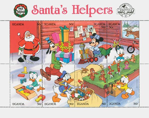 Uganda 1988 Santas Helpers, 8/sheetlet