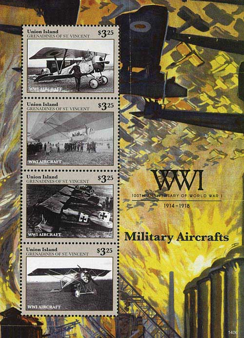 2014 Union Island $3.25 100th Anniversary of World War I Mint Sheet of 4 Stamps - Military Aircraft