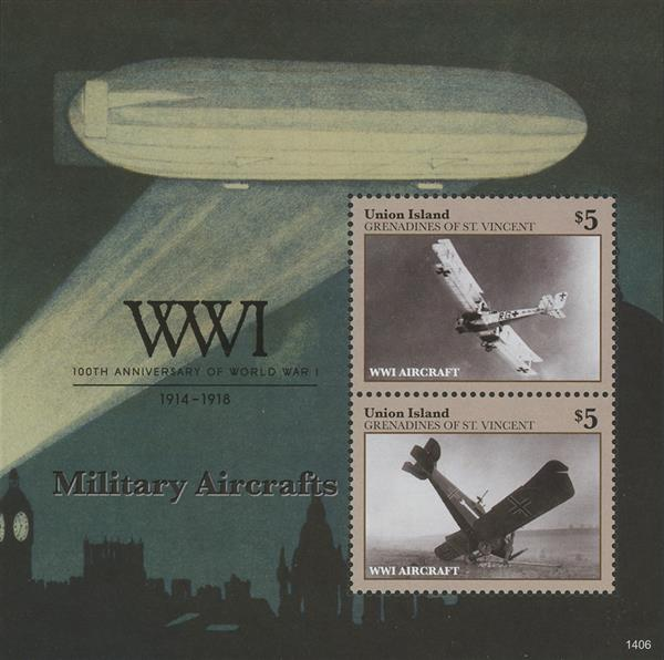 2014 $5 100th Anniversary of World War I; Military Aircrafts; Souvenir Sheet of 2