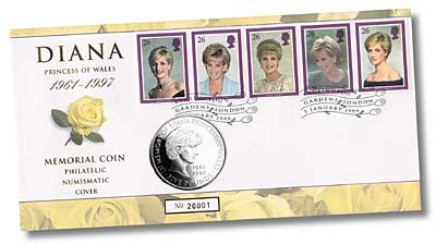 1999 $5 Princess Diana Coin Cover