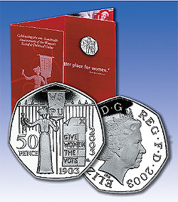 2004 2003 50 Pence Suffragette Coin
