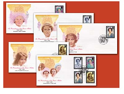2002 Queen Mother Memorial Set of 5 FDCs