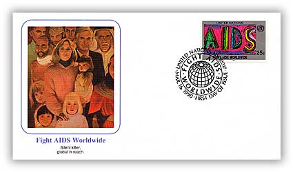 1990 25c UN Fight Aids World Wide Cover