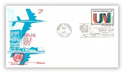 1972 21c Stylized 'UN'