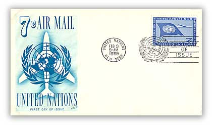 1959 7c United Nations Flag & Airplane