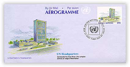 1989 39c United Nations Aerogramme