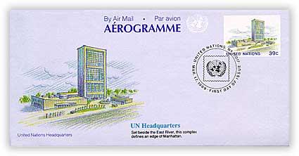 1989 39c United Nations Aerogramme