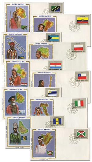 10 U.N. First Day Covers