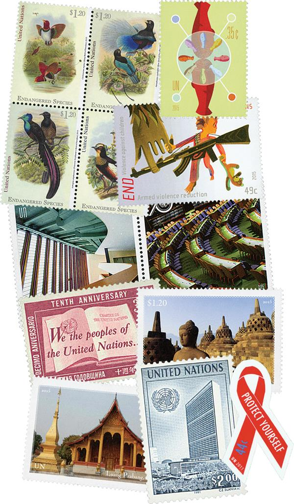Giant United Nations New York Office Stamp Collection, 1211 Mint Stamps and Free Album