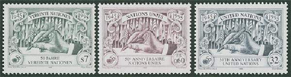 UN 50th Annv, NY, V, G, 3 stamps