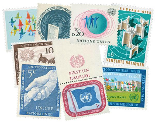 UN First Stamps (NY,Vienna,Geneva)