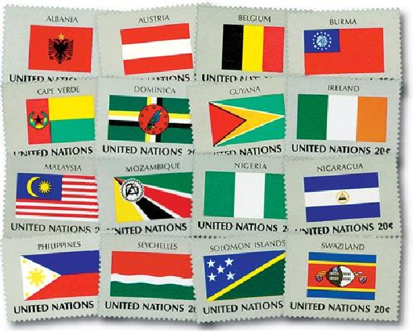 20c 1982 World Flags, 16 mint stamps