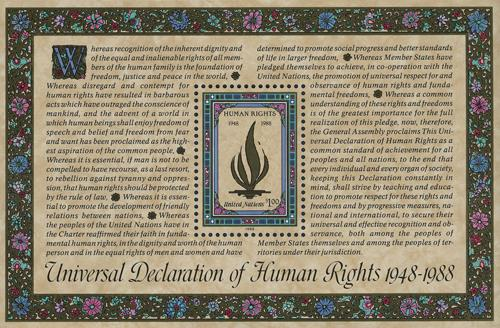 1988 $1 Universal Declaration of Human Rights 40th Anniversary souvenir sheet