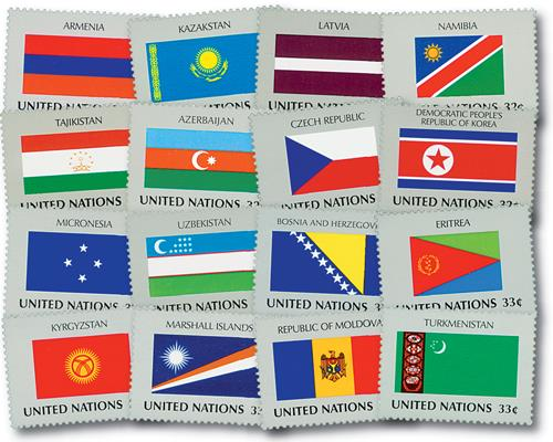 United Nations Flags, set of 24 stamps