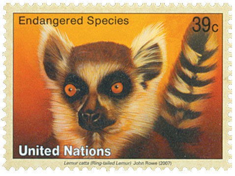 2007 39c UNNY Endangered-Ring-tail Lemur