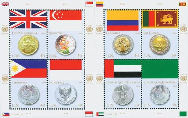2008 41c UN Flag/Coin Block