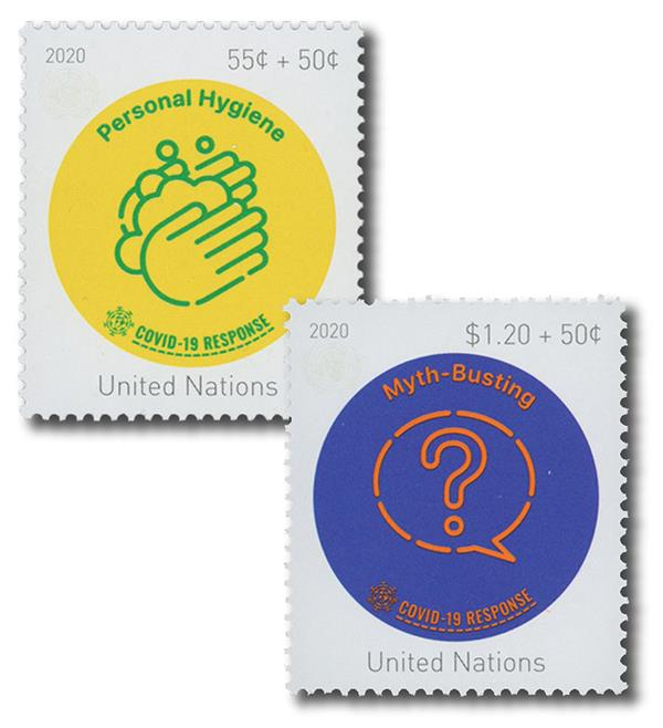2020 UN NY 55c + 50c & $1.20 + 50c COVID-19: We Are All In This Together - 2 Mint Stamps