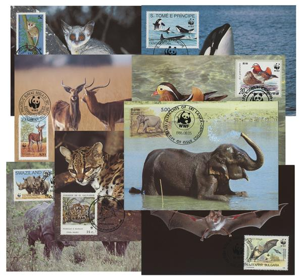 World Wild Life Fund Set of 44 First Day of Issue Postcards from Around the World
