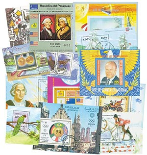 Worlwide Cancelled Souvenir Sheets; 100v