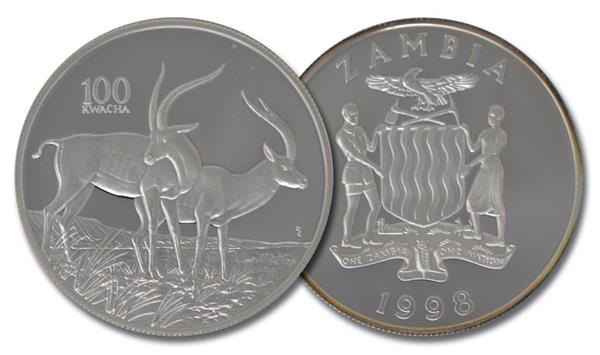 1998 Zambia Wildlife Silver Gazelle Coin