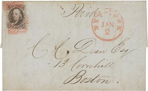 1847 #1 on Folded Letter with small flaws