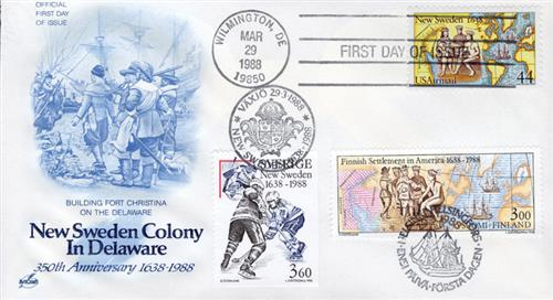1988 - Joint Issue - US and Sweden - New Sweden Colony 350th Anniversary