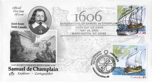 2006 Joint Issue - US and Canada - Explorations of Samuel de Champlain