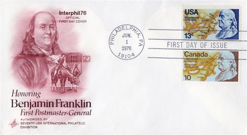 1976 Joint Issue - US and Canada - Benjamin Franklin, Postmaster