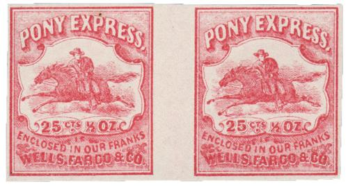 1862-64 25c Wells Fargo & Co. Local Stamp - Pony Express, red